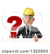 Clipart Of A 3d Young White Male Architect Holding A Question Mark Over A Sign Royalty Free Illustration