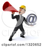 Clipart Of A 3d Young White Male Architect Holding An Email Arobase At Symbol And Announcing With A Megaphone Royalty Free Illustration