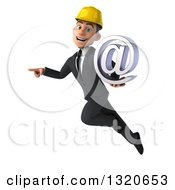 Clipart Of A 3d Young White Male Architect Flying Pointing And Holding An Email Arobase At Symbol Royalty Free Illustration