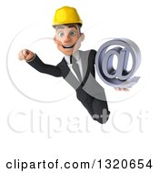 Clipart Of A 3d Young White Male Architect Flying And Holding An Email Arobase At Symbol Royalty Free Illustration