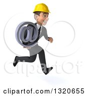 Clipart Of A 3d Young White Male Architect Sprinting To The Right And Holding An Email Arobase At Symbol Royalty Free Illustration