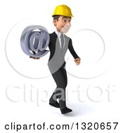 Clipart Of A 3d Young White Male Architect Walking To The Right And Holding An Email Arobase At Symbol Royalty Free Illustration