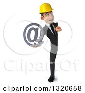 Clipart Of A 3d Full Length Young White Male Architect Holding An Email Arobase At Symbol And Looking Around A Sign Royalty Free Illustration
