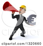 Clipart Of A 3d Young White Male Architect Holding A Euro Symbol And Announcing With A Megaphone Royalty Free Illustration