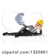 Clipart Of A 3d Young White Male Architect Resting On His Side And Holding A Euro Symbol Royalty Free Illustration