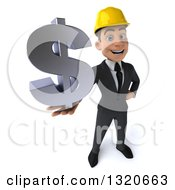 Clipart Of A 3d Young White Male Architect Holding Up A Dollar Symbol Royalty Free Illustration