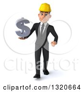Clipart Of A 3d Young White Male Architect Walking And Holding A Dollar Symbol Royalty Free Illustration