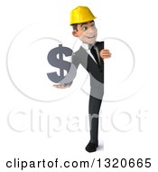 Clipart Of A 3d Full Length Young White Male Architect Holding A Dollar Symbol And Looking Around A Sign Royalty Free Illustration