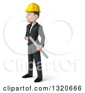 Clipart Of A 3d Young White Male Architect Holding Plans Facing Left Royalty Free Illustration