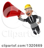 Clipart Of A 3d Young White Male Architect Flying And Announcing With A Megaphone Royalty Free Illustration