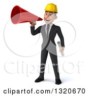 Clipart Of A 3d Young White Male Architect Holding Plans And Announcing With A Megaphone Royalty Free Illustration