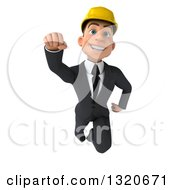 Clipart Of A 3d Young White Male Architect Flying Royalty Free Illustration