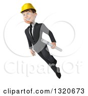 Clipart Of A 3d Young White Male Architect Holding Plans And Floating Royalty Free Illustration