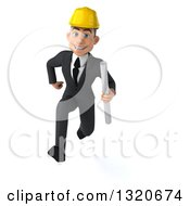 Clipart Of A 3d Young White Male Architect Holding Plans And Sprinting Royalty Free Illustration