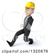 Clipart Of A 3d Young White Male Architect Speed Walking To The Left Royalty Free Illustration