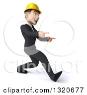 Clipart Of A 3d Young White Male Architect Speed Walking And Pointing To The Right Royalty Free Illustration