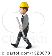 Clipart Of A 3d Young White Male Architect Holding Plans Walking To The Left Royalty Free Illustration