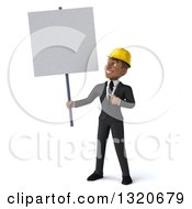 Clipart Of A 3d Young Black Male Architect Holding And Pointing To A Blank Sign Royalty Free Illustration