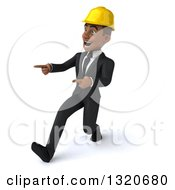 Clipart Of A 3d Young Black Male Architect Speed Walking And Pointing Left Royalty Free Illustration