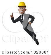 Clipart Of A 3d Young Black Male Architect Flying And Holding Up A Finger Royalty Free Illustration