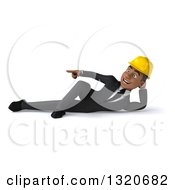 Clipart Of A 3d Young Black Male Architect Resting On His Side And Pointing To The Left Royalty Free Illustration