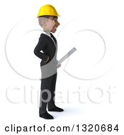 Clipart Of A 3d Young Black Male Architect Holding Plans And Facing Right Royalty Free Illustration