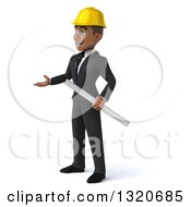 Clipart Of A 3d Young Black Male Architect Holding Plans And Presenting To The Left Royalty Free Illustration