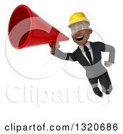 Clipart Of A 3d Young Black Male Architect Flying And Announcing With A Megaphone Royalty Free Illustration