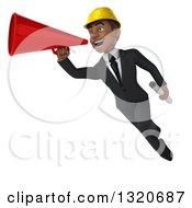 Clipart Of A 3d Young Black Male Architect Holding Plans Flying And Announcing With A Megaphone Royalty Free Illustration