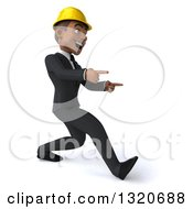 Clipart Of A 3d Young Black Male Architect Speed Walking And Pointing To The Right Royalty Free Illustration