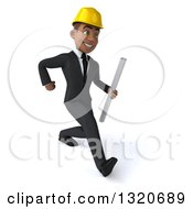 Clipart Of A 3d Young Black Male Architect Holding Plans And Speed Walking To The Right Royalty Free Illustration