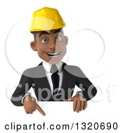 Clipart Of A 3d Young Black Male Architect Pointing Down Over A Sign Royalty Free Illustration