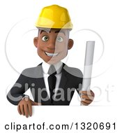 Clipart Of A 3d Young Black Male Architect Holding Plans Over A Sign Royalty Free Illustration
