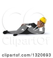 Clipart Of A 3d Young Black Male Architect Resting On His Side Royalty Free Illustration