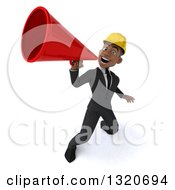 Clipart Of A 3d Young Black Male Architect Announcing Upwards With A Megaphone Royalty Free Illustration