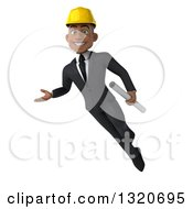 Clipart Of A 3d Young Black Male Architect Flying Presenting And Holding Plans Royalty Free Illustration by Julos