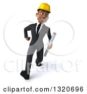 Clipart Of A 3d Young Black Male Architect Speed Walking And Holding Plans Royalty Free Illustration by Julos