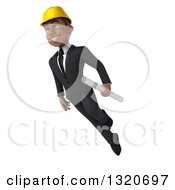 Clipart Of A 3d Young Black Male Architect Flying With Plans Royalty Free Illustration by Julos