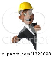Clipart Of A 3d Young Black Male Architect Pointing Outwards Around A Sign Royalty Free Illustration by Julos