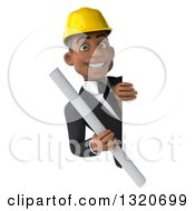 Clipart Of A 3d Young Black Male Architect Holding Plans Around A Sign Royalty Free Illustration by Julos