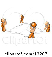 Wireless Telephone Network Of Orange Men Talking On Cell Phones