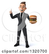 Clipart Of A 3d Happy Young White Super Businessman Holding Up A Finger And A Double Cheeseburger Royalty Free Illustration