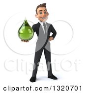 Clipart Of A 3d Happy Young White Businessman Holding A Green Medicine Tincture Droplet Royalty Free Illustration by Julos
