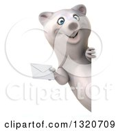 Clipart Of A 3d Happy Polar Bear Holding An Envelope Around A Sign Royalty Free Illustration