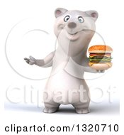 Clipart Of A 3d Polar Bear Presenting And Holding A Double Cheeseburger Royalty Free Illustration