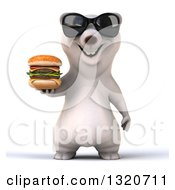 Clipart Of A 3d Polar Bear Wearing Sunglasses And Holding A Double Cheeseburger Royalty Free Illustration
