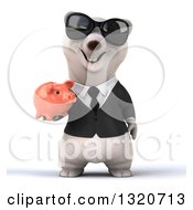 Clipart Of A 3d Business Polar Bear Wearing Sunglasses And Holding A Piggy Bank Royalty Free Illustration