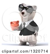 Clipart Of A 3d Business Polar Bear Wearing Sunglasses Facing Slightly Left And Holding A Piggy Bank Royalty Free Illustration