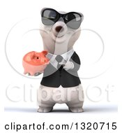 Clipart Of A 3d Business Polar Bear Wearing Sunglasses Holding And Pointing To A Piggy Bank Royalty Free Illustration