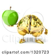 Clipart Of A 3d Gold Brain Character Holding A Green Apple Royalty Free Illustration